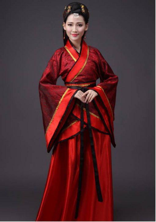 Hán phục cổ trang Trung Quốc nhà Tần Đỏ 9