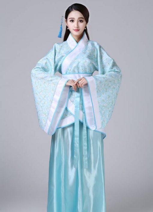 Hán Phục Cổ Trang Trung Quốc Nhà Tần Xanh 3