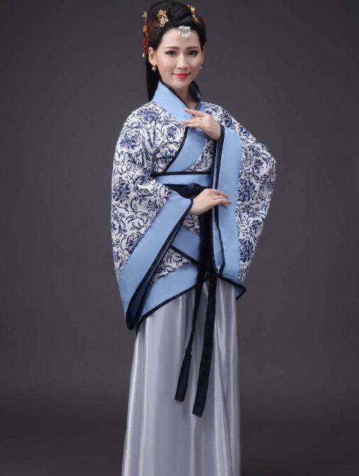 Hán Phục Cổ Trang Trung Quốc Nhà Tần Xanh Trắng 1